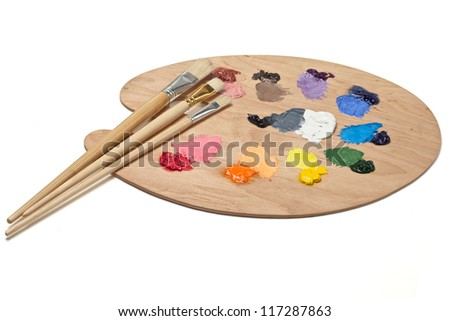 Artist Palette With Basic Colors And Brushes
