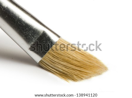 Artist's brush close up white isolated - stock photo