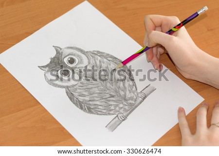artist's hand draws an owl, pencil on paper - stock photo