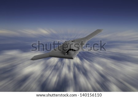 Artist's impression of a drone as it flies at 30,000 feet on a motion blur style background of clouds. - stock photo