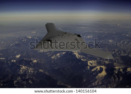 Artist's impression of a drone as it flies over rugged inter mountains of East Asia, such as Korea, China or Russia. - stock photo