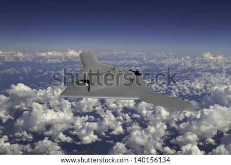 Artist's impression of an unmarked drone as it flies at 30,000ft over a cloudy sky. - stock photo