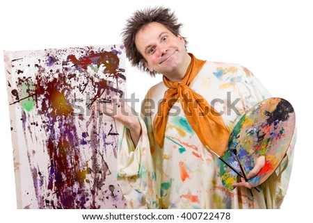 artist shows his work of modern art - stock photo
