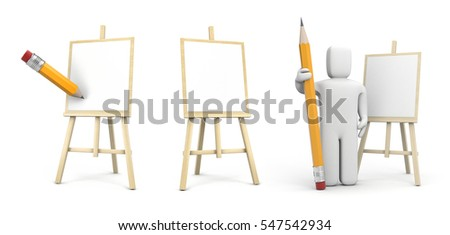 Artist with pencil and easel. Set of 3d illustration
