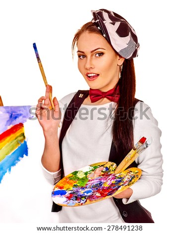 Artist woman holding brush at work. Isolated. - stock photo