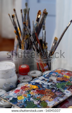 artist work - stock photo