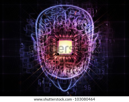 Artistic abstraction on the subject of intelligence,  consciousness, logical thinking, mental processes and brain power composed of head outlines, lights and abstract design elements - stock photo