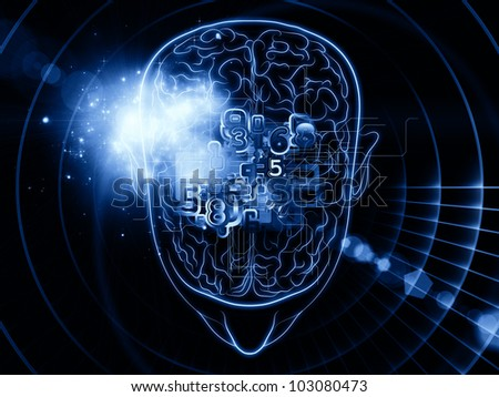 Artistic abstraction on the subject of intelligence,  consciousness, logical thinking, mental processes and brain power composed of head outlines, lights and abstract design elements