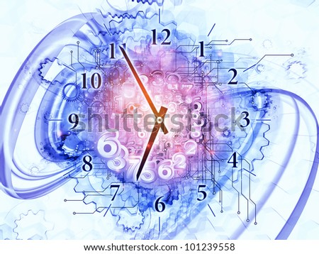 Artistic abstraction on the subject of scheduling, temporal and time related processes, deadlines, progress, past, present and future composed of gears, clock elements, dials and dynamic swirly lines - stock photo