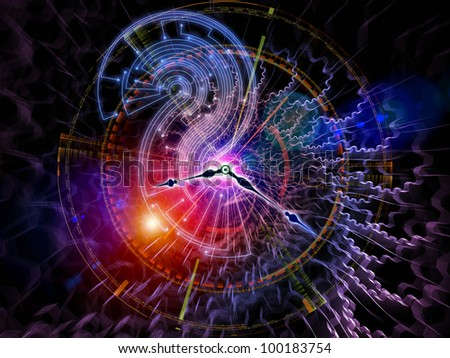 Artistic abstraction on the subject of time sensitive issues, deadlines, scheduling, temporal processes, past, present and future composed of clock hands, gears, lights and abstract design elements - stock photo