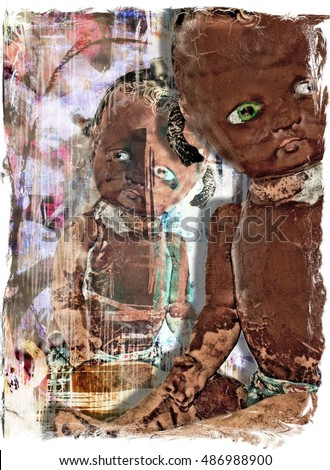 Artistic Antique Baby Doll Illustration