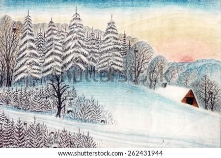 Artistic artwork. Bright landscape. Graphic design in pencil. Winter view - stock photo