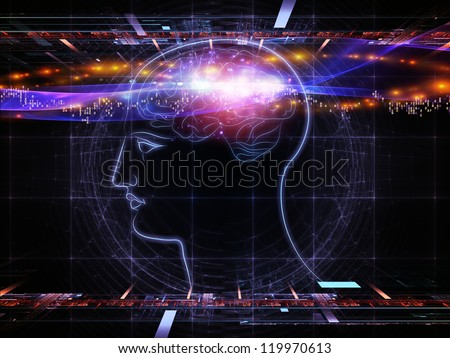 Artistic background for use with projects on intelligence,  consciousness, logical thinking, mental processes and brain power, made of head outlines, lights and abstract design elements