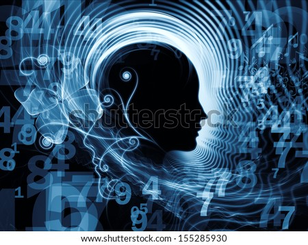 Artistic background made of human feature lines and symbolic elements for use with projects on human mind, consciousness, imagination, science and creativity - stock photo