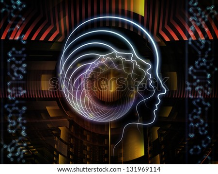 Artistic background made of lines of human head, fractal grids and technology related symbols for use with projects on artificial intelligence, science, education and technology