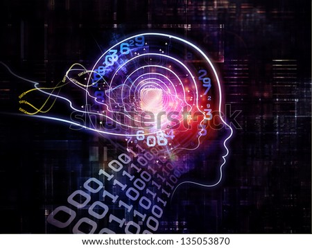 Artistic background made of outline of human head and symbolic elements for use with projects on knowledge, science, technology and education