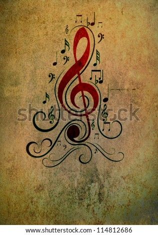 Artistic background - music notes in grunge style