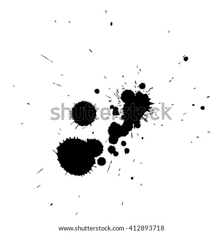 Artistic black paint hand made creative wet dirty ink or oil drop spots silhouette isolated on white background, metaphor to art, grunge or grungy, decoration, education abstract symbol design