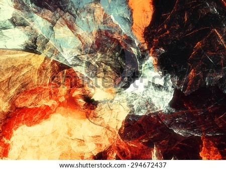 Artistic bright color paints texture. Abstract warm background. Modern futuristic pattern for wallpaper, interior, album, flyer cover, poster, booklet. Fractal artwork for creative graphic design.