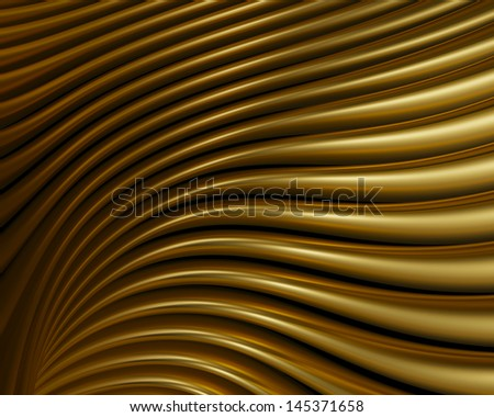 Artistic brushed metal reflections wallpaper. Grungy elegant golden curves creative design - stock photo