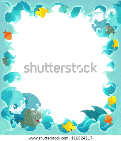 Artistic cartoon frame waves with fishes - illustration for the children
