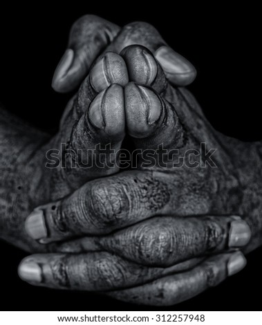 Artistic Closeup Image Of a Soiled workers hands - stock photo