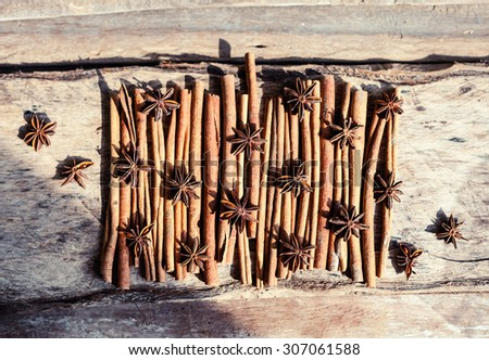 Artistic closeup of cinnamon and star anise seeds on a wooden background. Sunny still life photo. Top view - stock photo