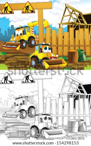 Artistic coloring page  out of cartoon style - illustration for the children