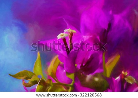 Artistic composition, digital art, paint effect, Purple Bougainvillae in blossom (Selective Focus)