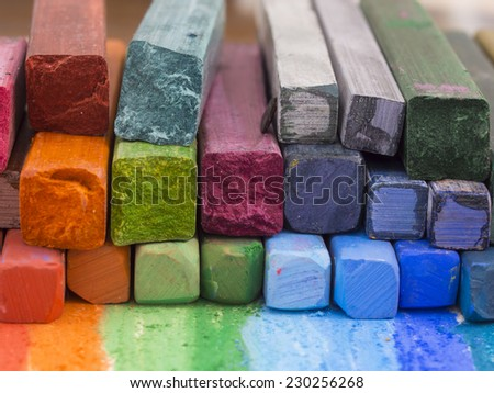 artistic crayons - stock photo