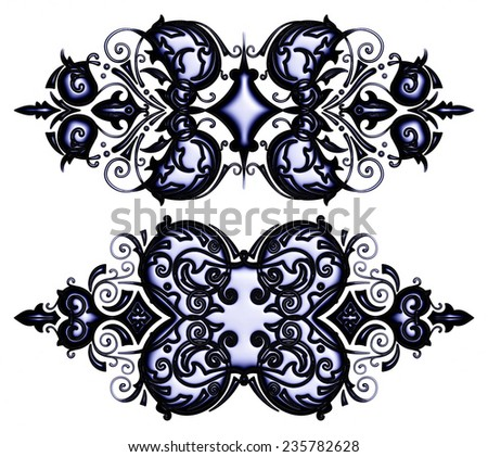 Artistic, 3d ornamental on isolated white background