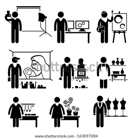 Artistic Designer Jobs Occupations Careers - Photographer, Graphic, Painter, Mural Artist, Sculptor, Pottery, Handcraft, Florist, Fashion - Stick Figure Pictogram - stock photo