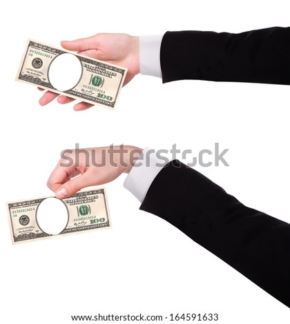 Artistic dollar bill with  hand isolated on a white background