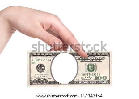 Artistic dollar bill with woman hand isolated on a white background - stock photo