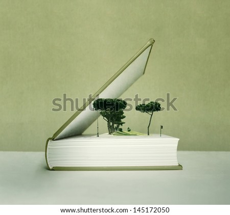 Artistic fantasy open book with the pop up effect with trees, field and traffic light - stock photo
