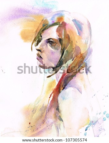 Artistic female portrait - stock photo