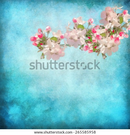 Artistic floral background with spring cherry blossom. Painting style floral art - stock photo