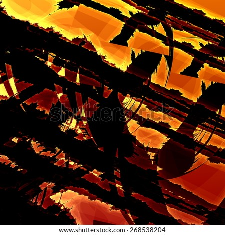 Artistic Fractal Grunge. Modern Art Background. Abstract Old Texture. Grungy Illustration Design. Dark Brown Rusty Orange Colors. Decorative Digital Image. Creative Distressed Pattern. Scratched. - stock photo