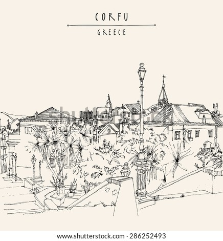 Artistic freehand illustration postcard with a touristic city view of Corfu, Greece, Europe. Black ink pen line. Greeting card graphic design template. Retro style sketch. Buildings, palm trees, lamp