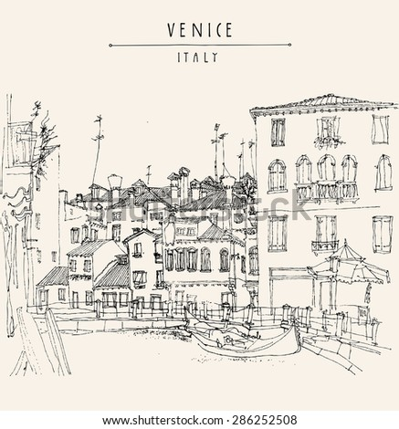Artistic freehand monochrome illustration postcard with a touristic city view of Canareggio, Venice, Italy, Europe with gondola. Vintage sketch postcard. Greeting card graphic design template.
