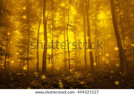 Artistic gold color foggy forest tree fairytale landscape with abstract fireflies.