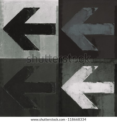 Artistic grunge design monochrome arrows set, four arrow signs painted on a wall. - stock photo