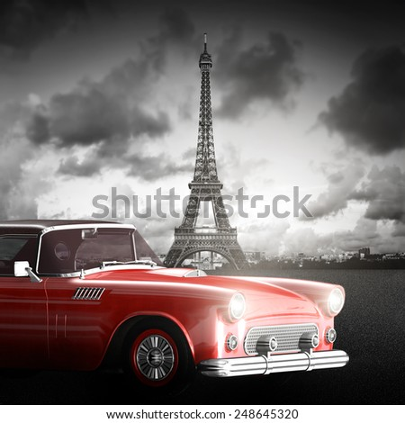 Artistic image of Effel Tower, Paris, France and red retro car. Black and white, vintage. - stock photo