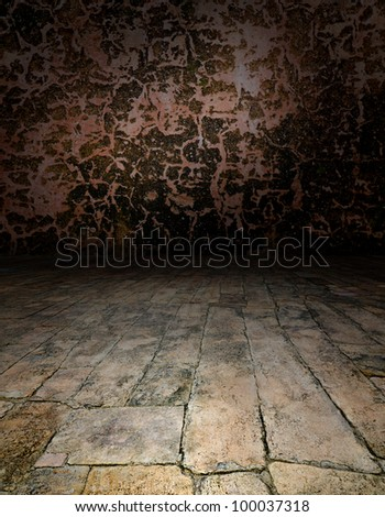 Artistic interiors - a scene with a stone floor - stock photo