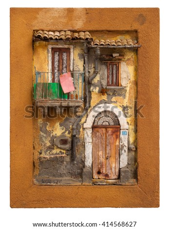 Artistic miniature of ancient sicilian poor house