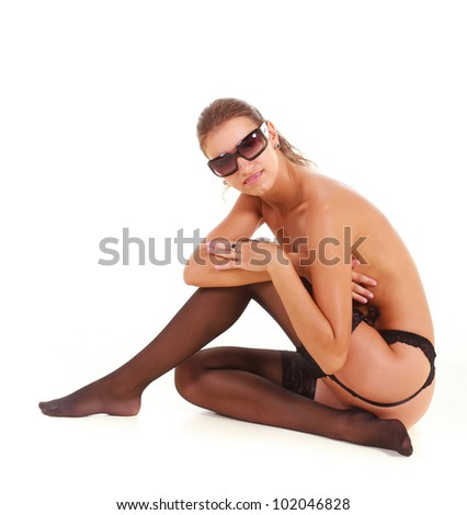 Artistic nude exercising - stock photo