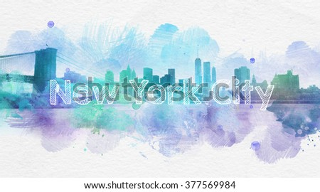 Artistic painting of skyscrapers in New York City with blots of blue and purple smudges and descriptive text - stock photo