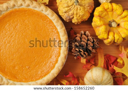 Artistic photo of sweet potato pie, or pumpkin pie with autumn leaves and colorful gourds - stock photo