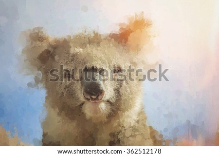 Artistic portrait of koala looking through stained dirty glass - artwork - stock photo