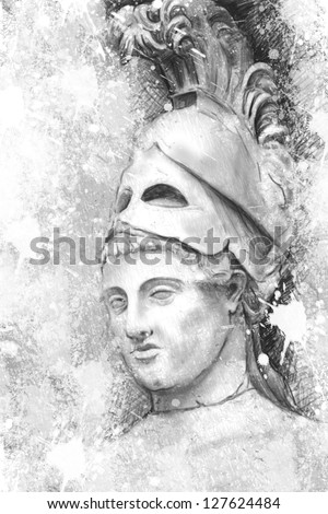 Artistic portrait of Pericles with textured background, classical Greek sculpture - stock photo